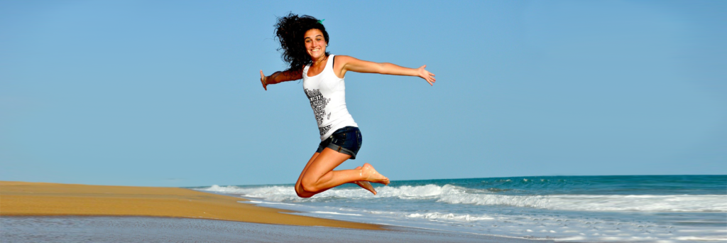 fit girl jumps for joy